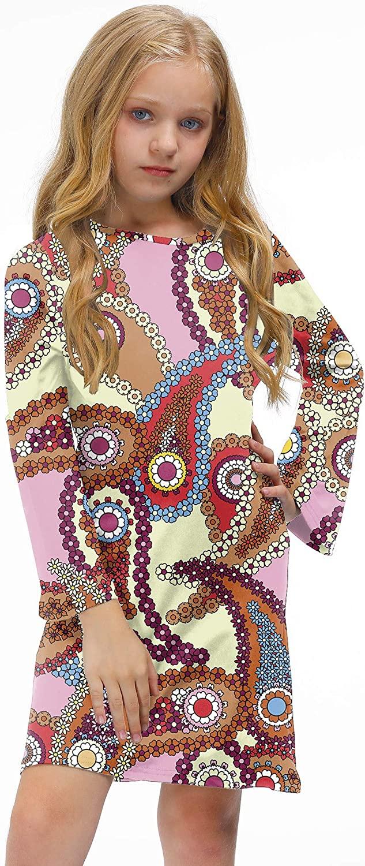 BesserBay Girl's 70s Retro Hippie Bell Sleeve Midi Dress Costume 3-12 Years