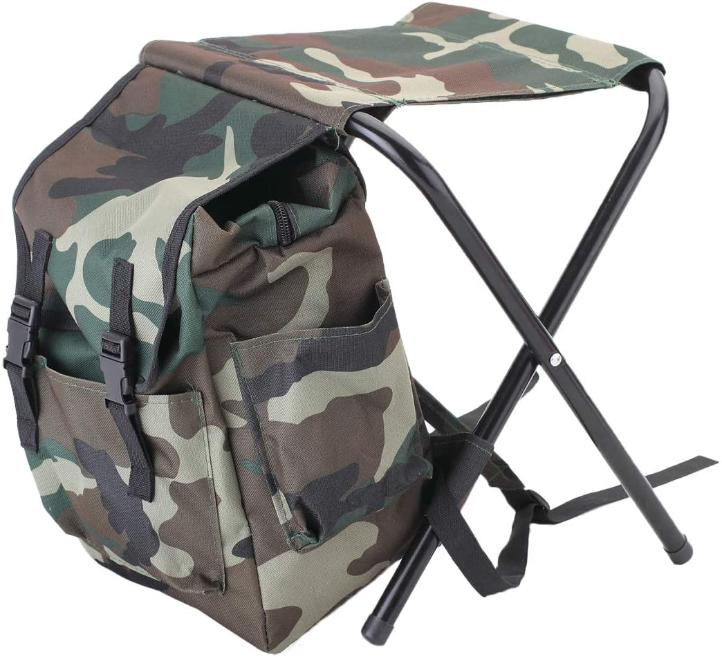 UNISTRENGH Foldable Camping Chair Backpack Stool with Cooler Insulated Picnic Bag for Outdoor Indoor Fishing Travel Beach BBQ (Camouflage)