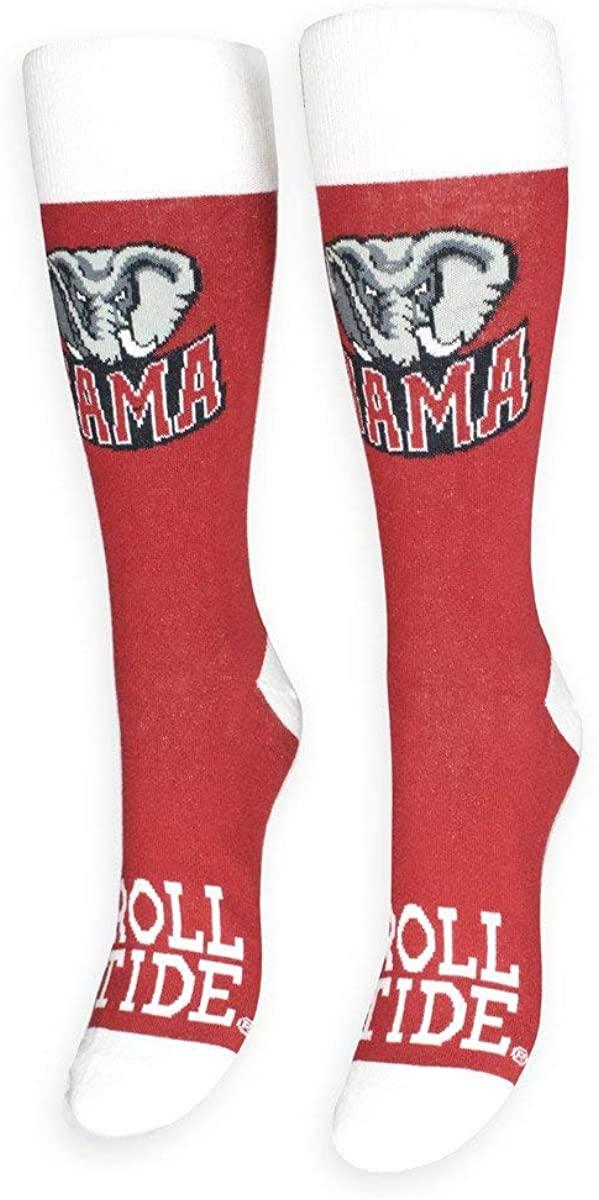 FREAKER Feet, Unisex Casual Dress Fun Colorful Cotton Crew Socks, NCAA Collegiate Alabama Crimson Tide Roll