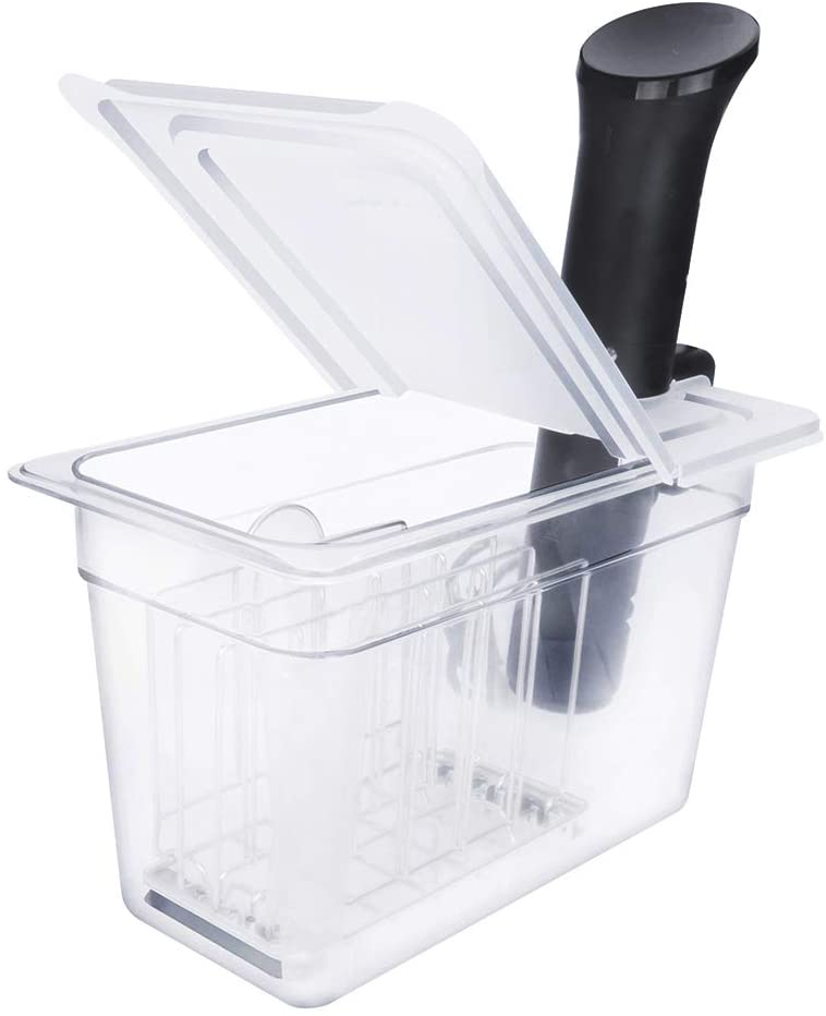 EVEREI Sous Vide Container 7 Quart with Rack and Collapsible Hinged Lid Compatible with Anova Nano, Not Compatible with Anova 800w or 900w