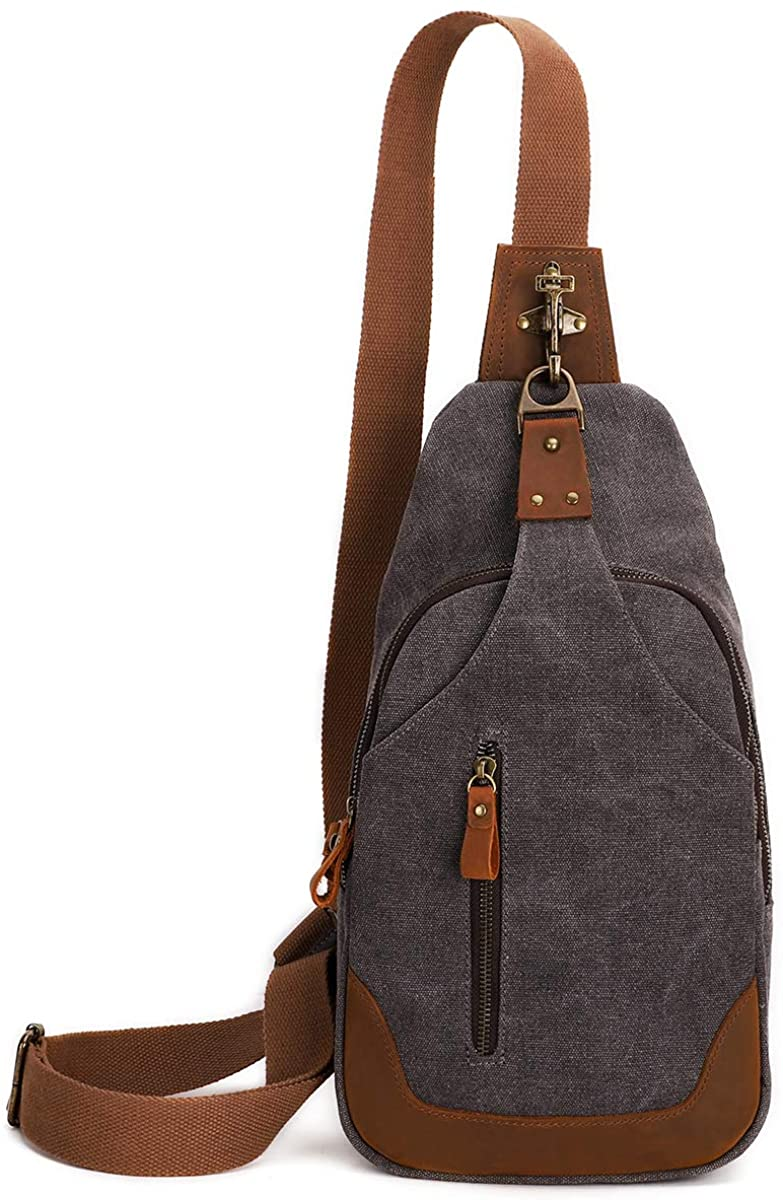 Canvas Sling Bag Small Crossbody Backpack Shoulder Casual Daypack Rucksack for Men Women Outdoor Cycling Hiking Travel