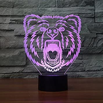 Creative 3D Bear Night Light 7 Colors Changing USB Power Touch Switch Decor Lamp Optical Illusion Lamp LED Table Desk Lamp Children Kids Brithday Christmas Gift