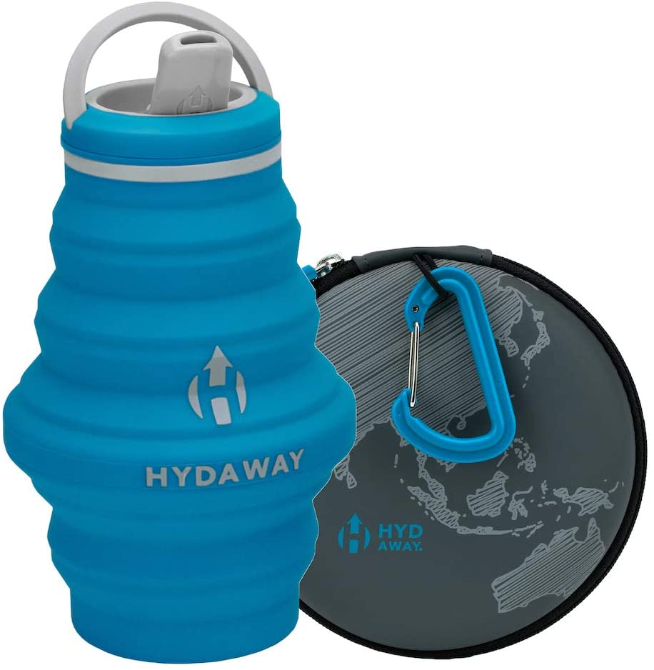 HYDAWAY Hydration Travel Pack | 17 oz Collapsible Water Bottle with Spout Lid and Compact Travel Case with Carry Clip
