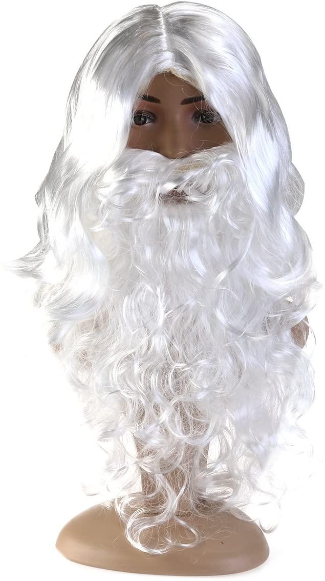 WINOMO Santa Wig and Beard Set Christmas Wig White Fancy Dress Costume