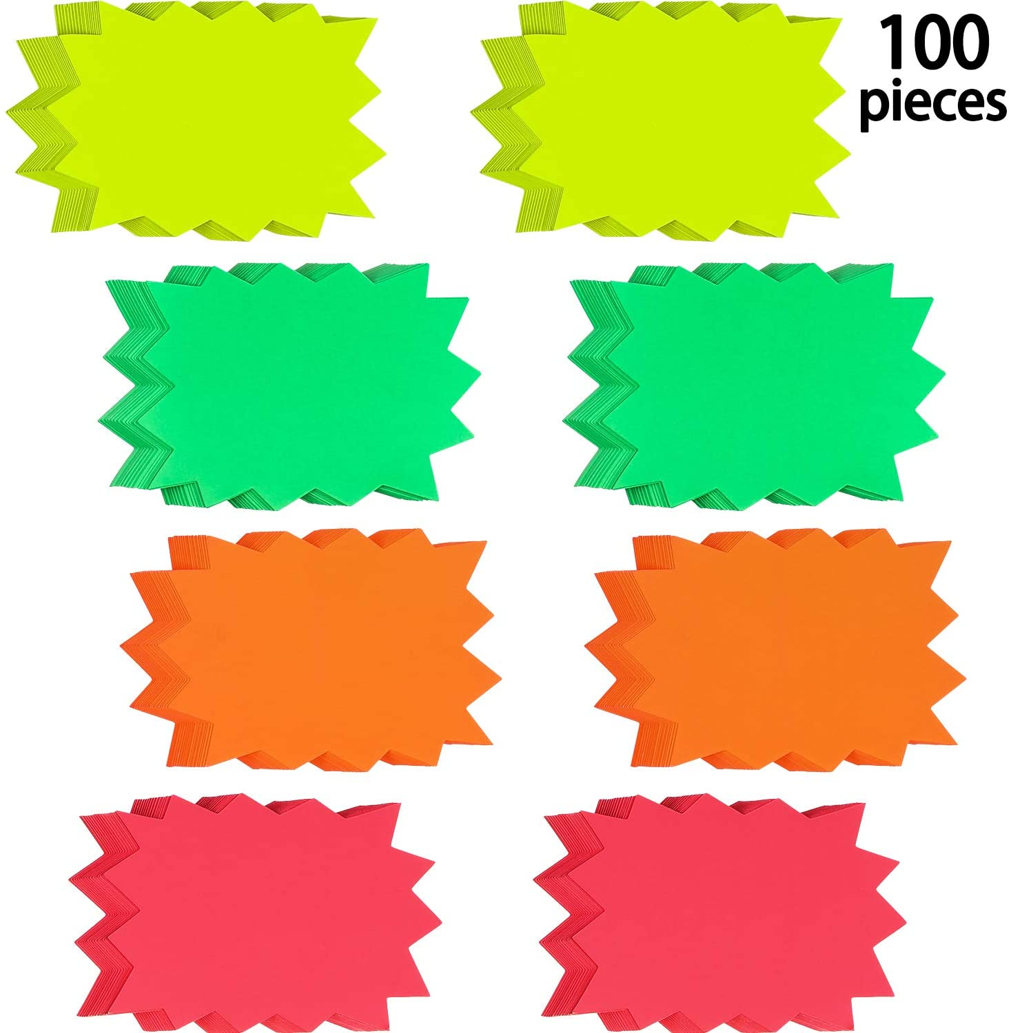 100 Pieces Starburst Signs Star Burst Signs Fluorescent Neon Paper for Retail Store, 4 Bright Colors (3 x 4.1 Inches)