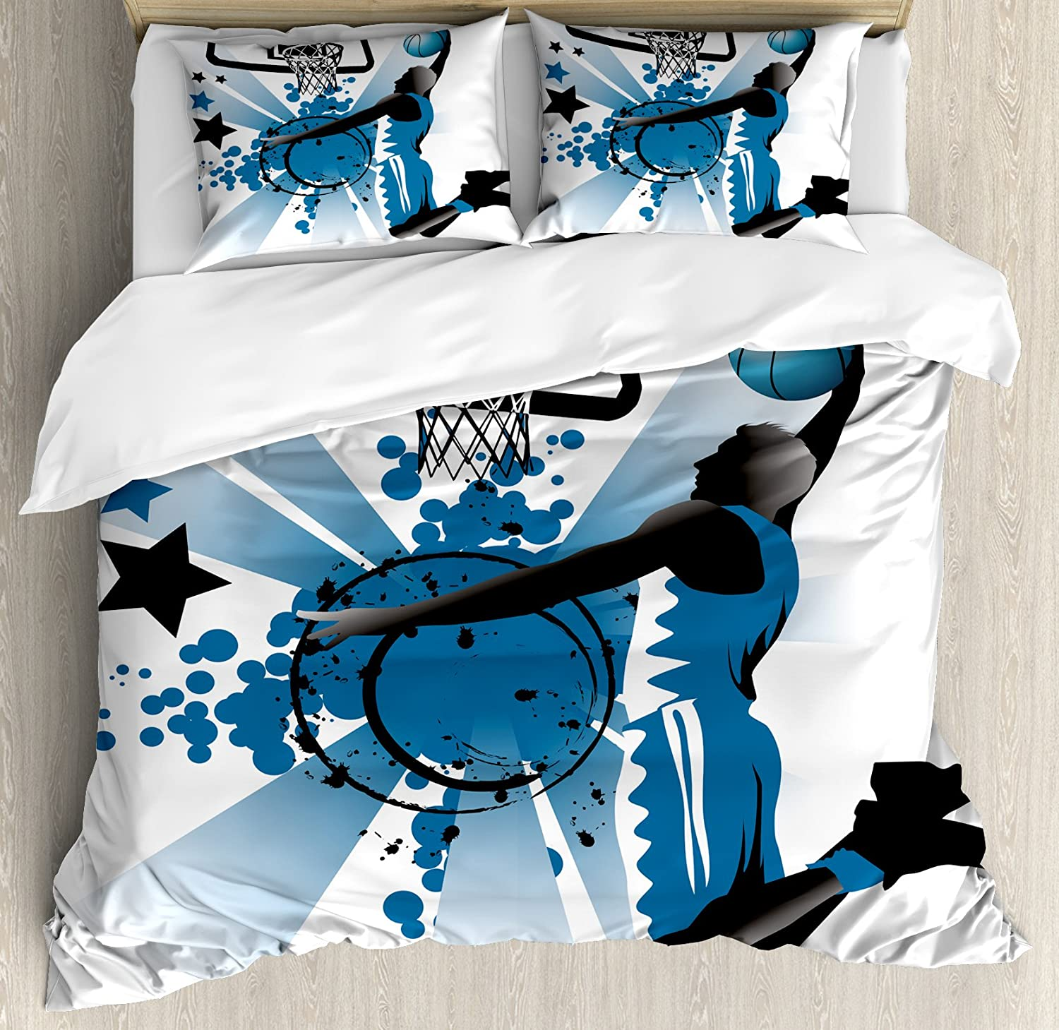 Ambesonne Teen Room Duvet Cover Set, Silhouette of Basketball Player Jumping Success Stars Illustration, Decorative 3 Piece Bedding Set with 2 Pillow Shams, Queen Size, Blue Black