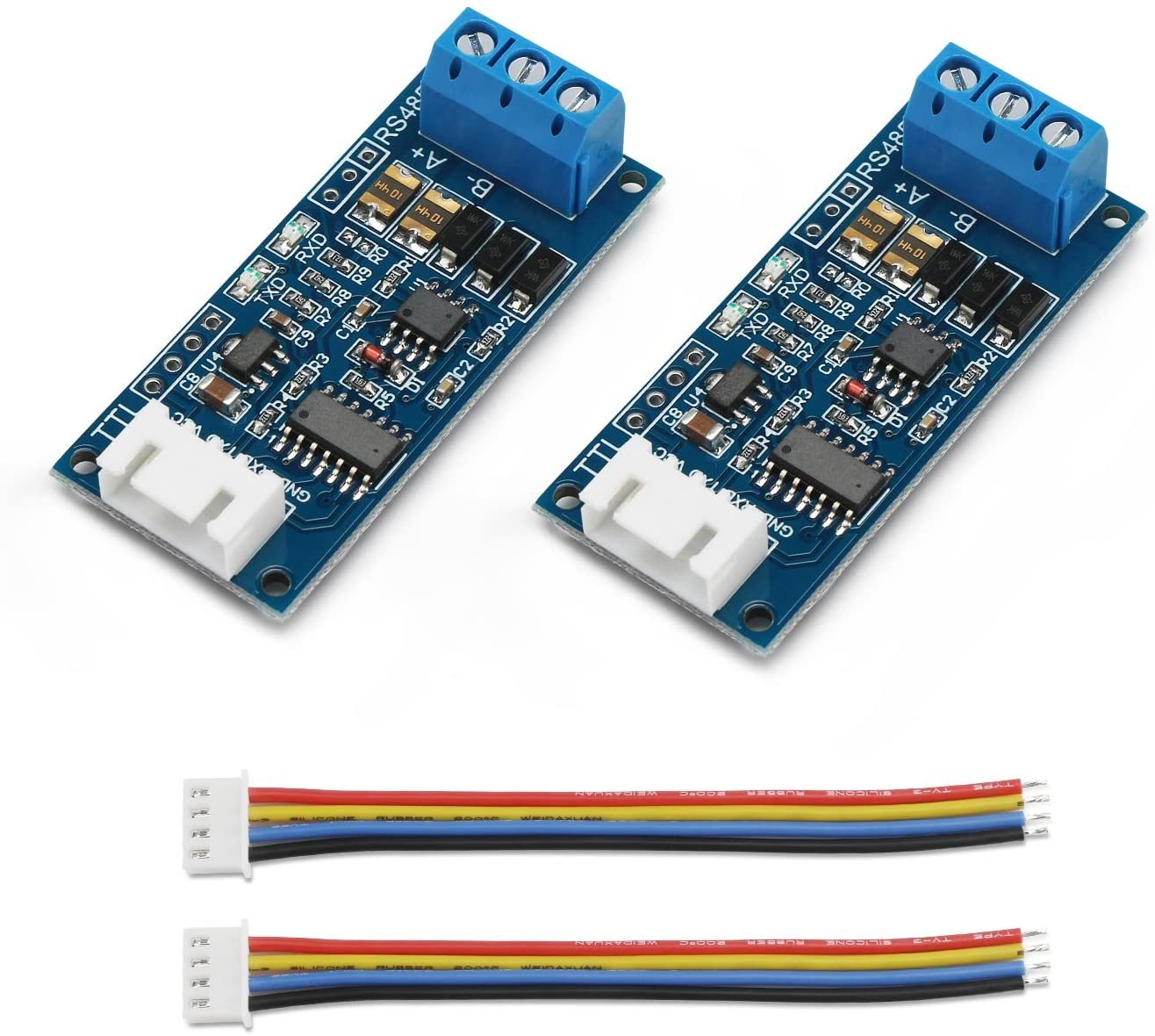 2pcs TTL to RS485 Adapter Module, DROK 485 to TTL Signal Single Chip Serial Port Level Converter 3.3V 5V Board with RXD, TXD Indicator Lights