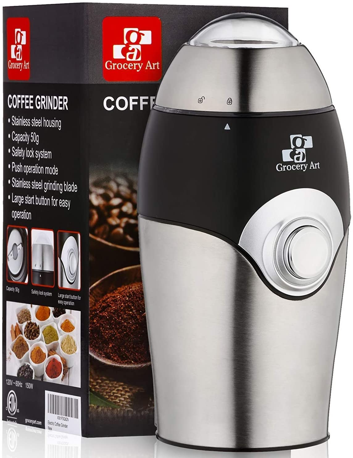 Coffee Grinder Electric - Simple Touch Small & Compact Blade Mill - Automatic Grinding Tool Machine Whole Coffee Beans, Spices, Herbs & Nuts