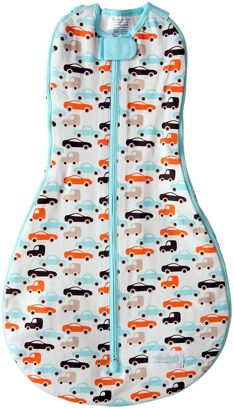 Woombie Grow with Me Baby Swaddling Blanket, Convertible Swaddle Fits Babies 0-9 Months, Expands to Wearable Blanket for Babies up to 18 Months, Boys and Toys