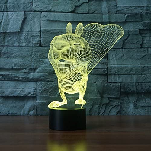 Creative 3D Squirrel Night Light 7 Colors Changing USB Power Touch Switch Decor Lamp Optical Illusion Lamp LED Table Desk Lamp Children Kids Brithday Christmas Gift