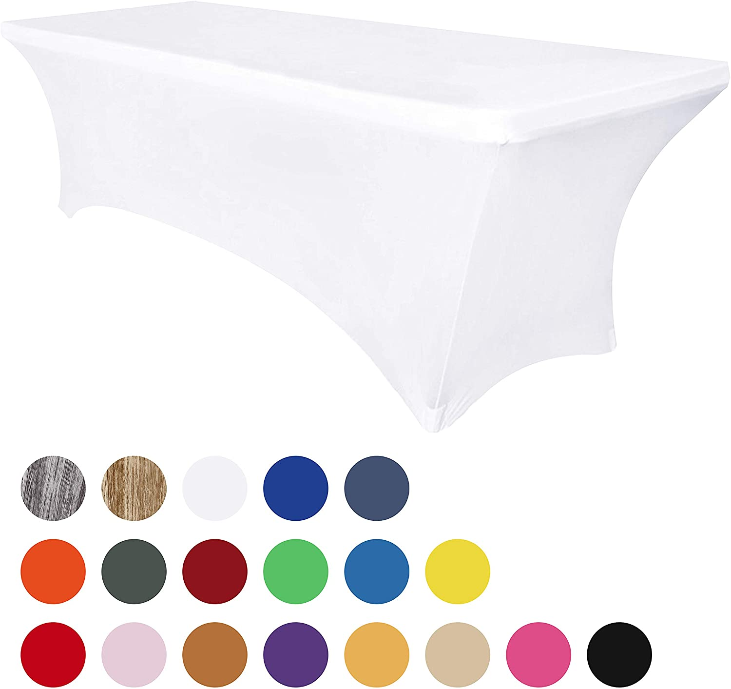 Obstal 8ft Stretch Spandex Table Cover for Standard Folding Tables - Universal Rectangular Fitted Tablecloth Protector for Wedding, Banquet and Party (White, 96 Length x 30 Width x 30 Height Inches)