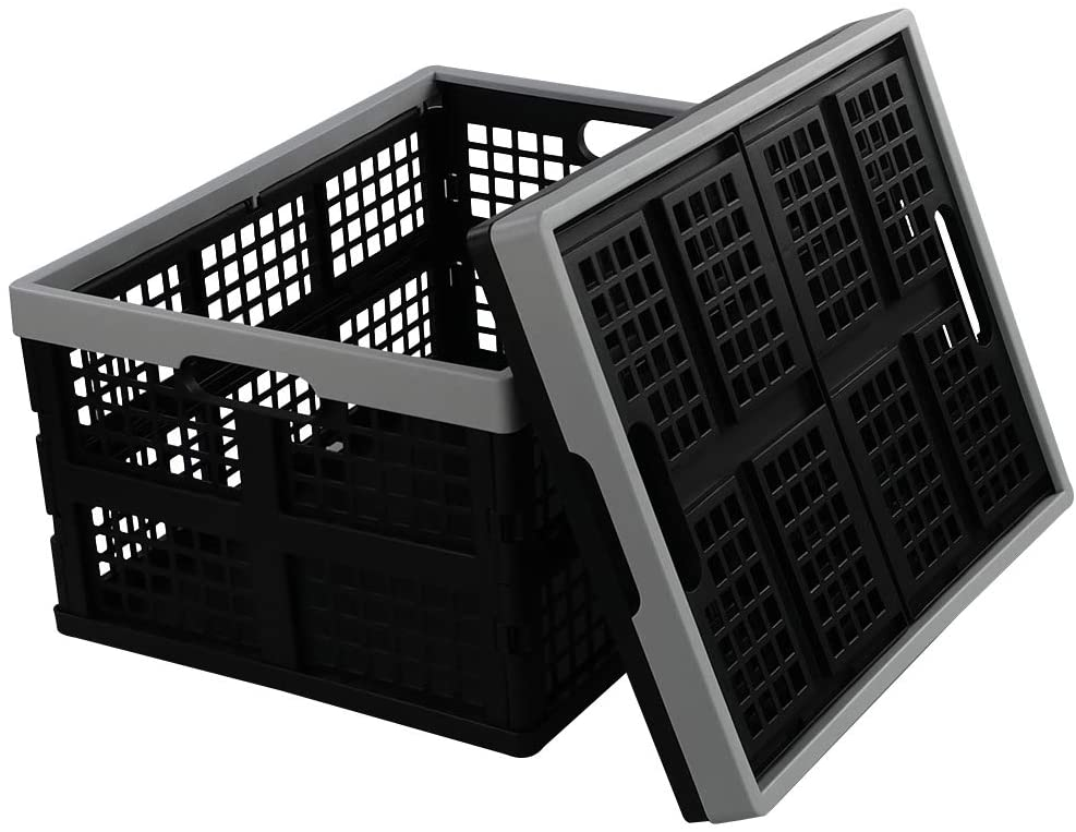 Doryh 34 Quart Plastic Crates, Collapsible Storage Crates/Stackable Storage Container Basket, 2-Pack