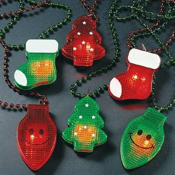 Fun Express Holiday Light Up Necklace - 1 Dozen, Assorted Styles