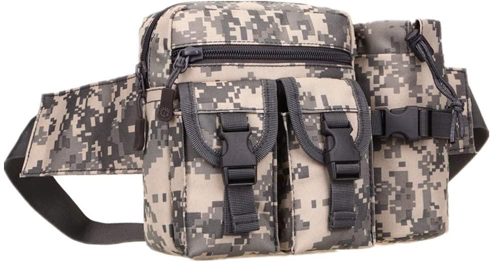 UNISTRENGH Tactical Fanny Packs Pouch with Water Bottle Pocket Holder Waterproof Molle Waist Pack Hip Belt Bag