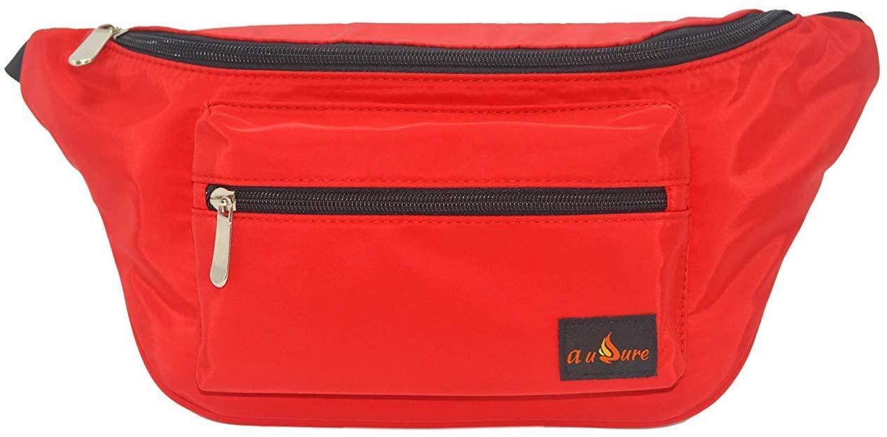 Hiking Fanny Pack Large Waist Pack For Women Men Travel Hip Bag Red