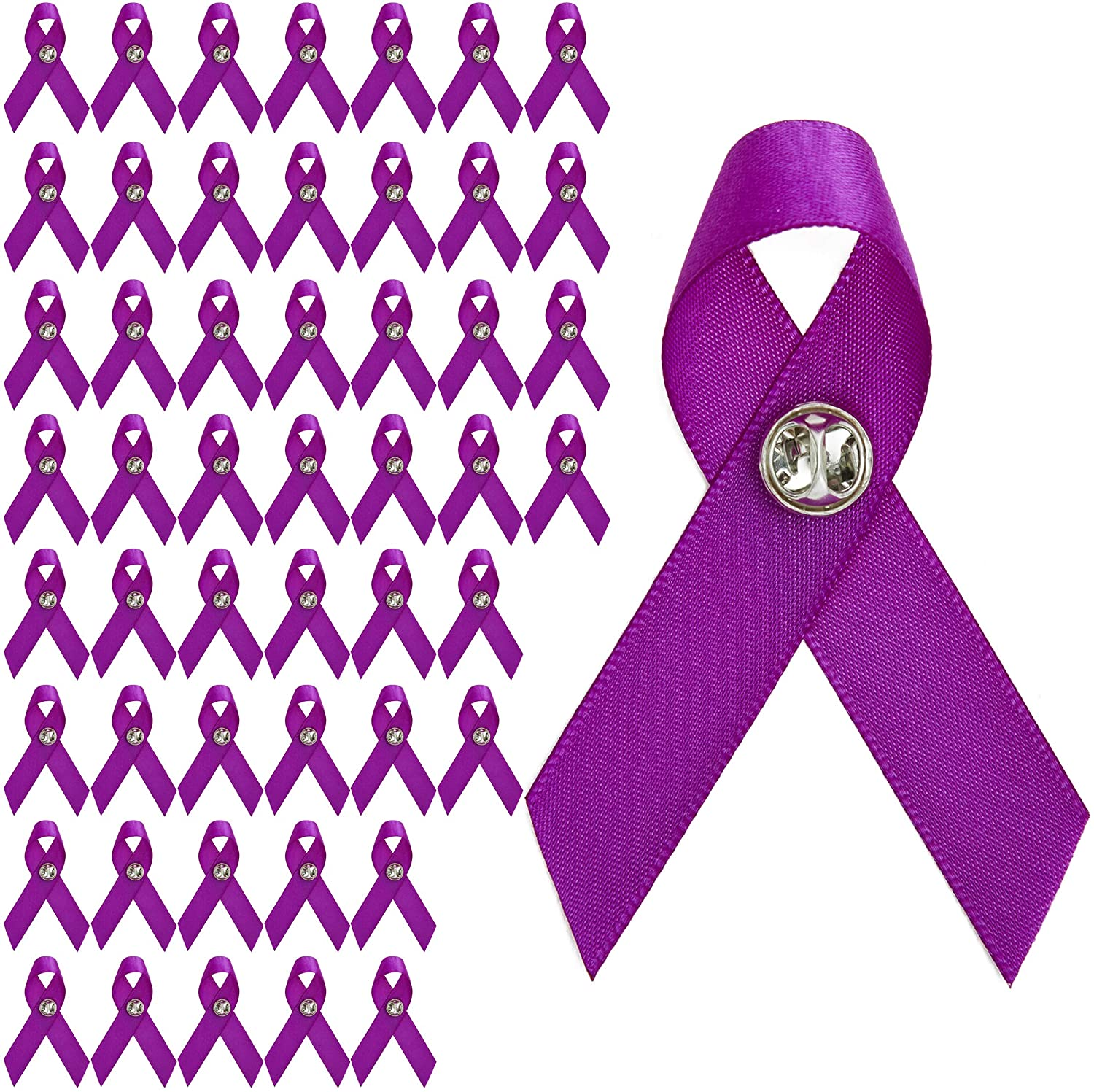 Purple Satin Awareness Ribbons with Clutch Pins (5/8 in, 50-Pack)