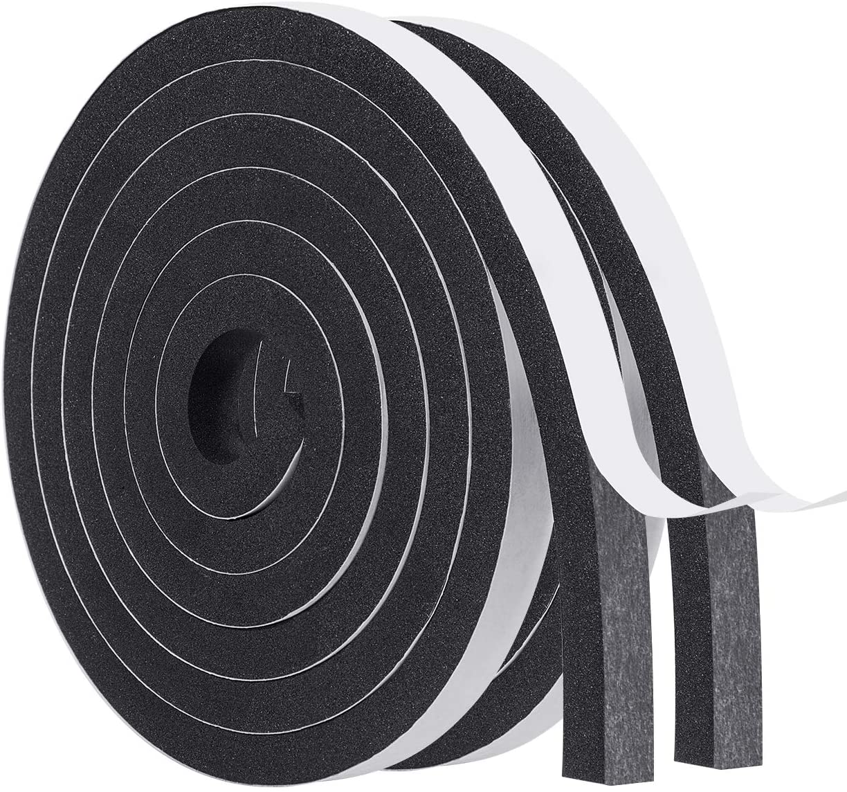 High Density Foam Tape-2 Rolls, 1/2 Inch Wide X 3/8 Inch Thick Self Adhesive Weather Stripping for Doors Insulation Soundproofing Closed Cell Foam Window Seal Total 13 Feet Long(6.5ft x 2 Rolls)