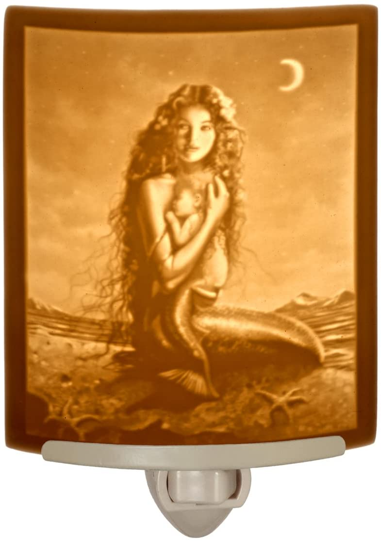 Mermaid and Child art by David Delamare Porcelain Lithophane Night Light