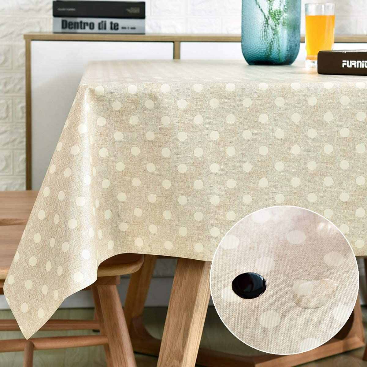 LOHASCASA Vinyl Oilcloth Tablecloth Rectangle Wipeable Oil-Proof Waterproof PVC Heavy Duty Long Tablecloth Beige and White Polka Dot 54 x 108 Inch