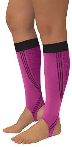 Tonus Activ Elastic Medical Compression Leg Sleeves w/Foot Loops, Unisex - 18-21 mmHg - Sock Length 66.9-71.7 - Small (Pink/Black)