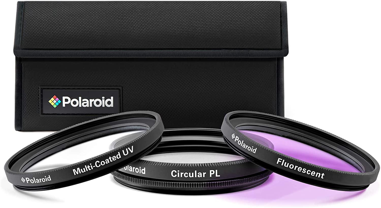 Polaroid Optics 49mm 3-Piece Filter Kit Set [UV,CPL,FLD] includes Nylon Carry Case – Compatible w/ All Popular Camera Lens Models