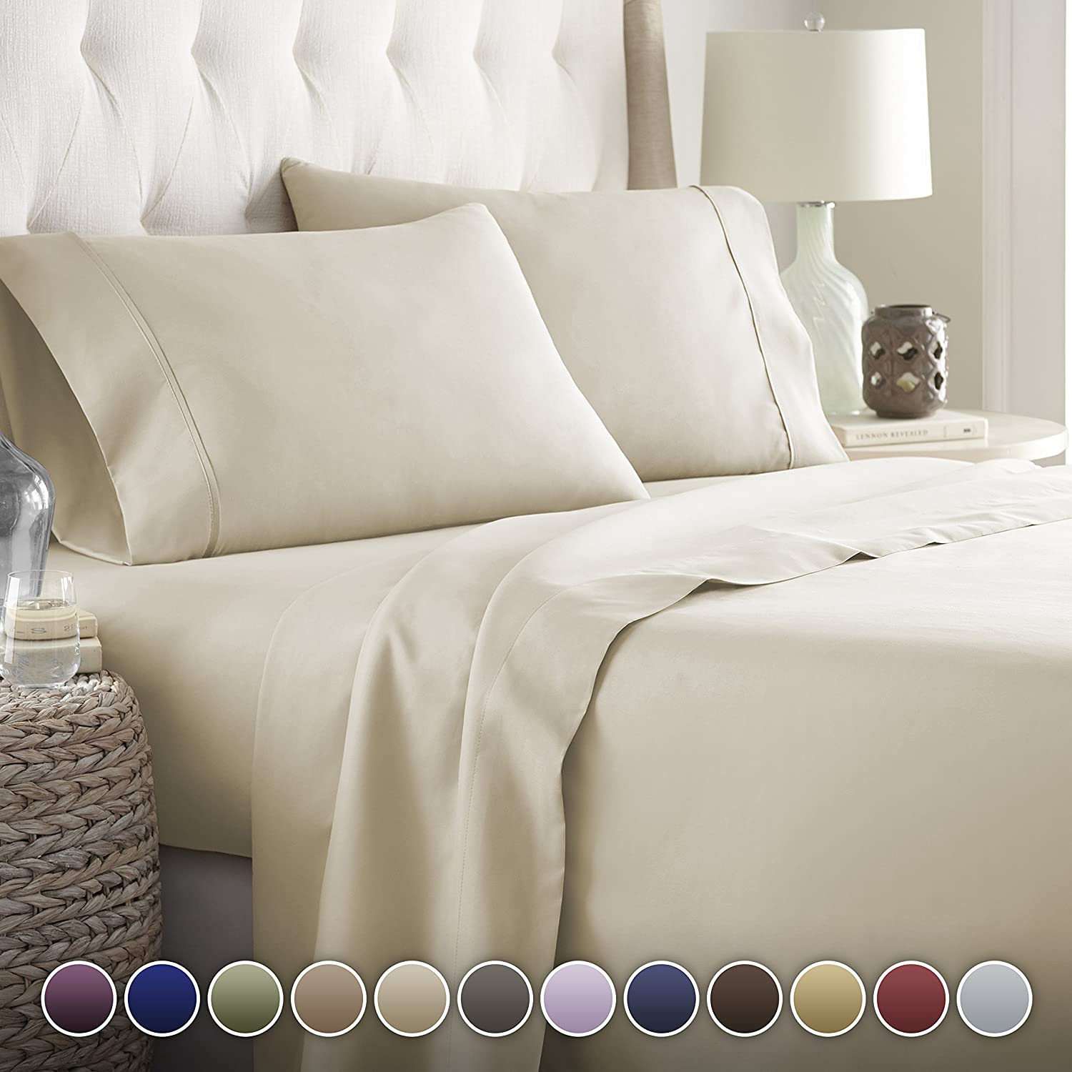 Hotel Luxury Bed Sheets Set- 1800 Series Platinum Collection-Deep Pocket,Wrinkle & Fade Resistant (King,Cream)