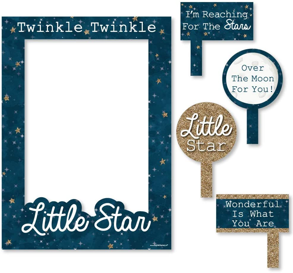 Big Dot of Happiness Twinkle Twinkle Little Star - Birthday Party or Baby Shower Selfie Photo Booth Picture Frame & Props - Printed on Sturdy Material
