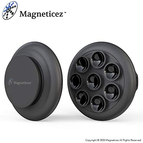 Magneticez Suction Cup Charger with Magnet Holder Mobile Phone Charging Device with 8 Mini Cups and Metal Back - Compatible with Most Cellphone Brands and Models - Black
