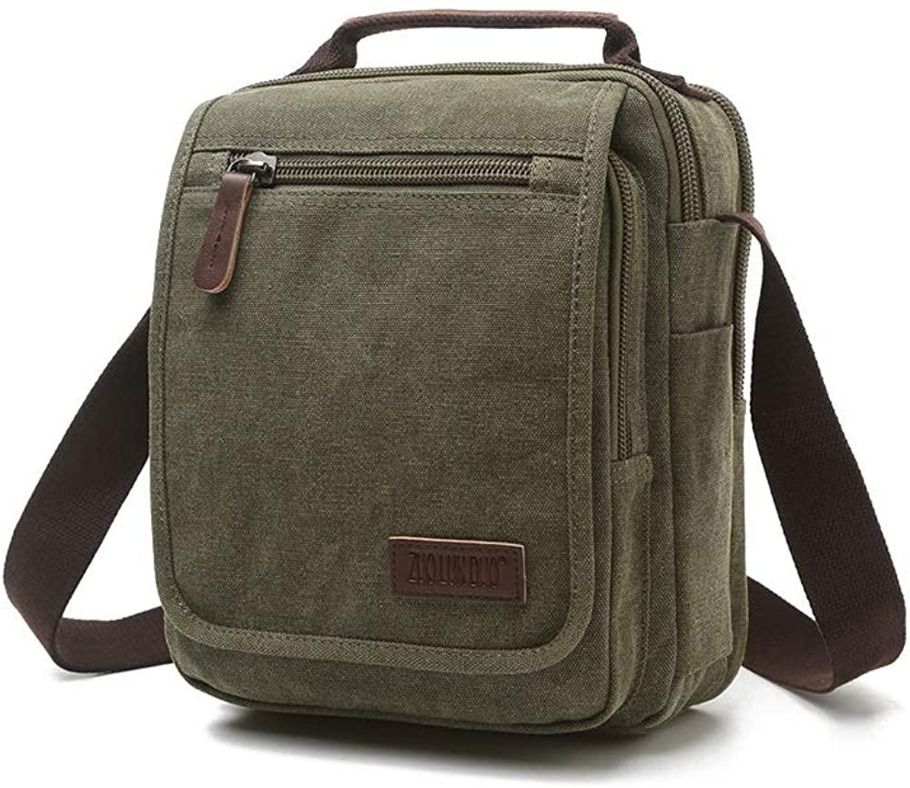 Messenger Bag Vintage Small Canvas Shoulder Travel Cross Satchel Body Bag Green