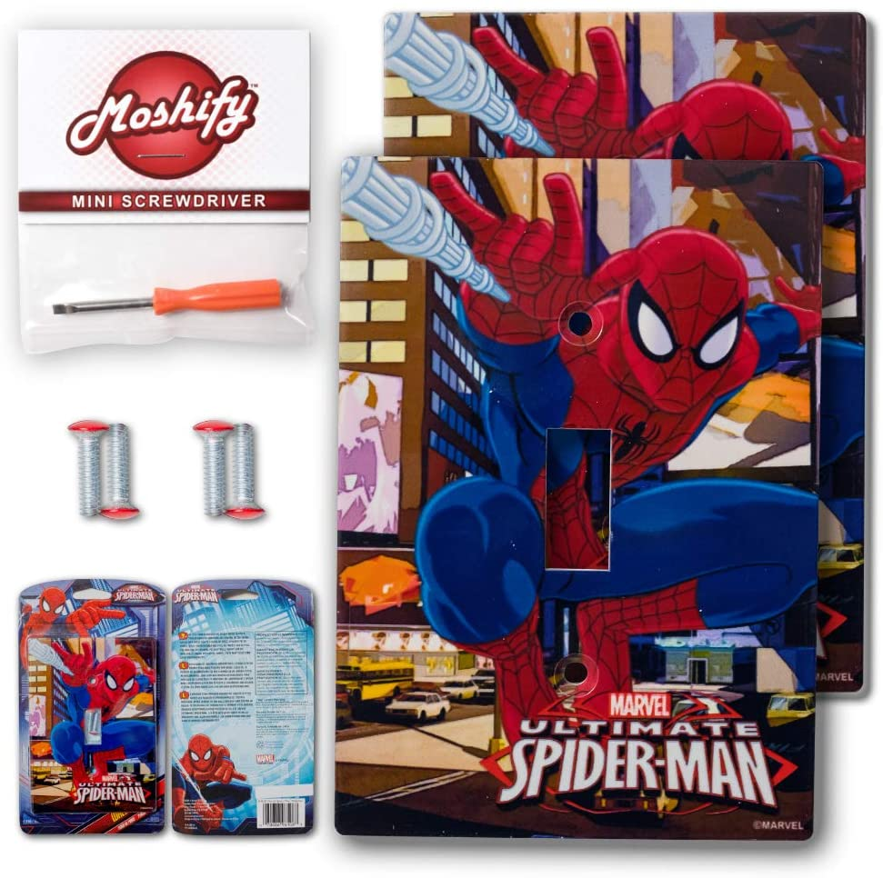 AmerTac Spiderman Wall Plate Light Switch Cover - Bundle with Moshify Flathead Screw Driver (2 Pack)