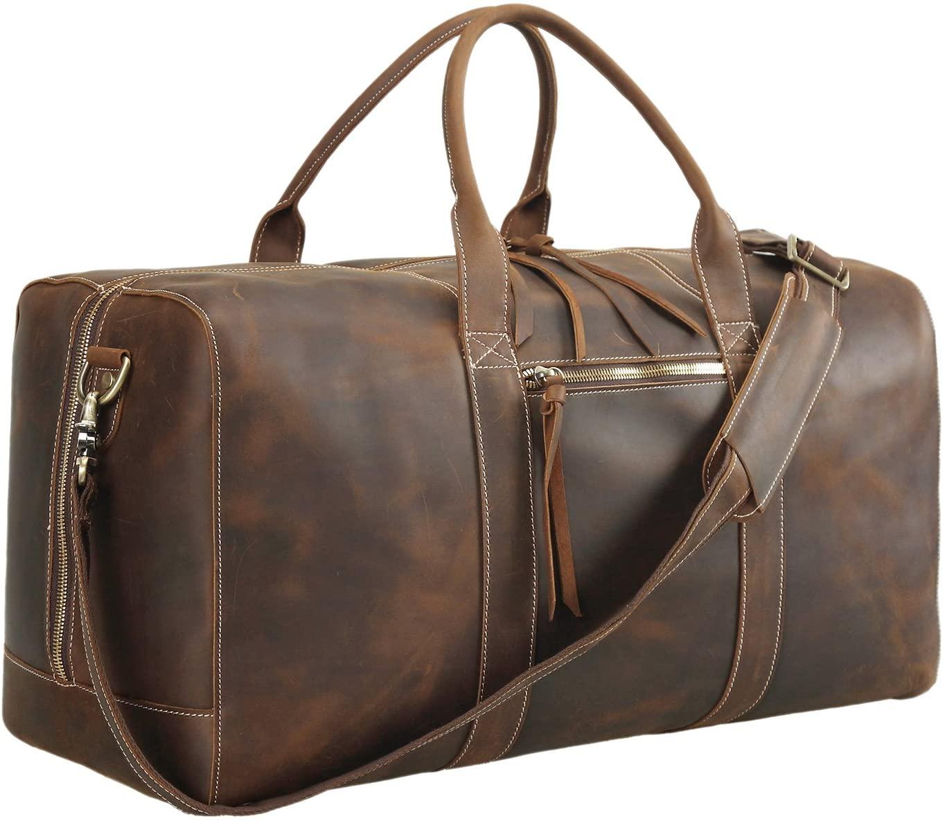 Polare 23.2'' Full Grain Leather Duffel Bag Overnight Travel Duffle Weekender Bag For Men
