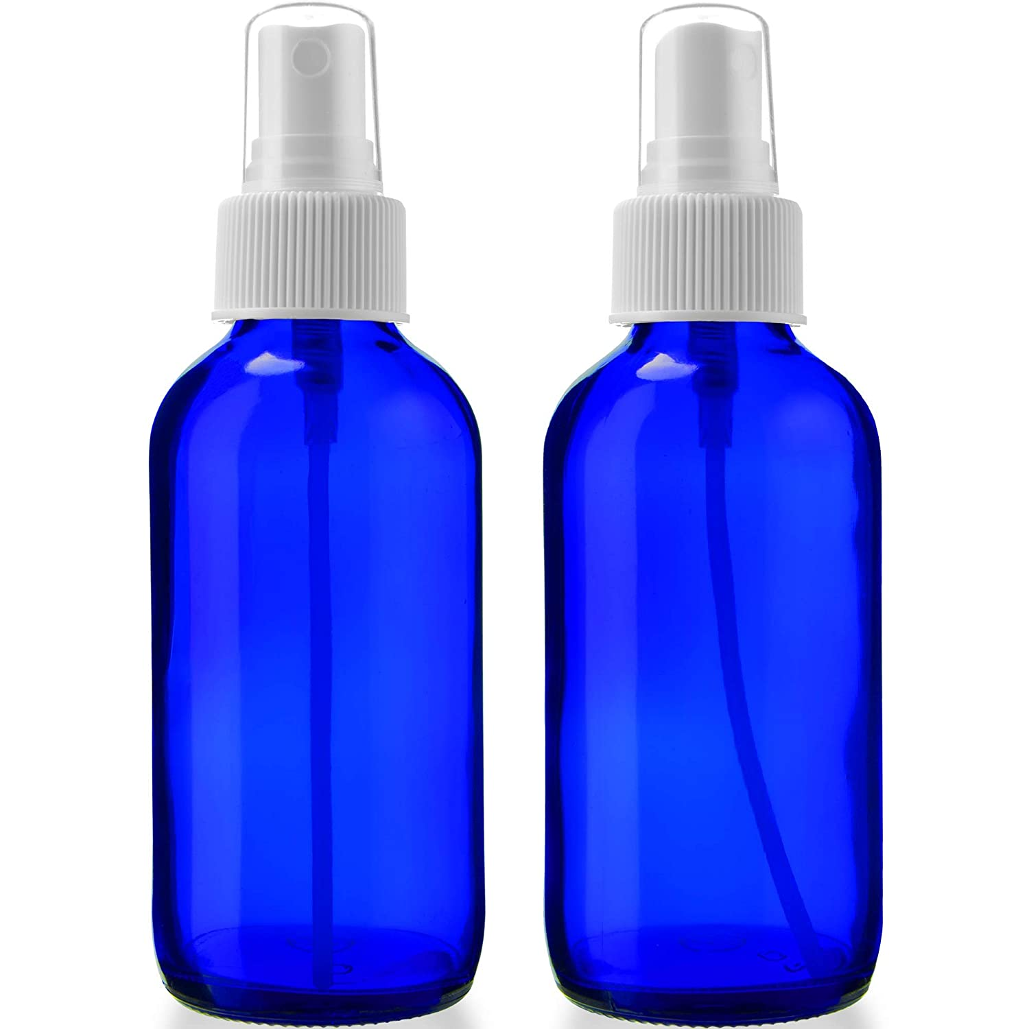 2 Empty Blue Glass Spray Bottles - 4oz Refillable Bottle is Great for Essential Oils, Organic Beauty Solutions, Homemade Cleaning and Aromatherapy - Small Portable Misters with Caps & Labels - 2 Pack