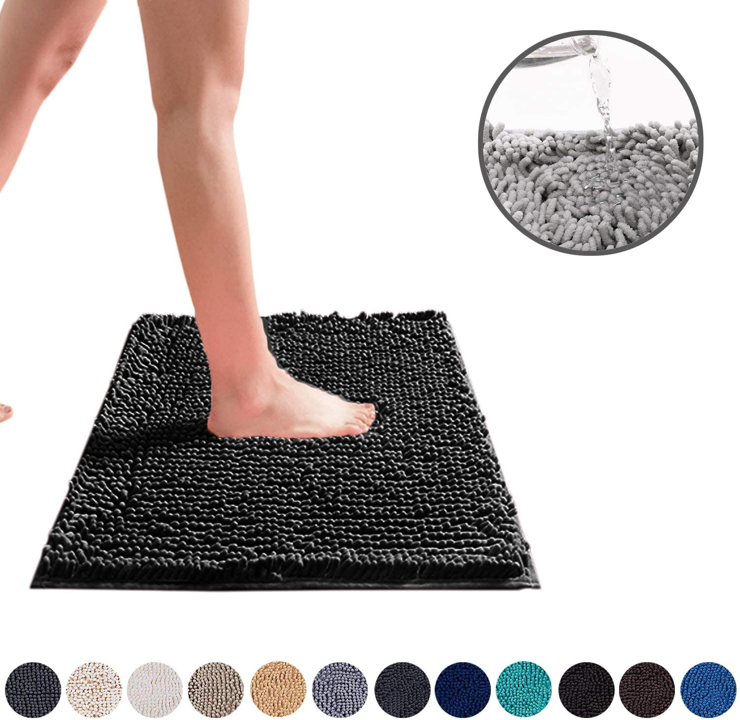 DEARTOWN Non-Slip Shaggy Bathroom Rug (Black,24X39 Inches),Soft Microfibers Chenille Bath Mat with Water Absorbent, Machine Washable