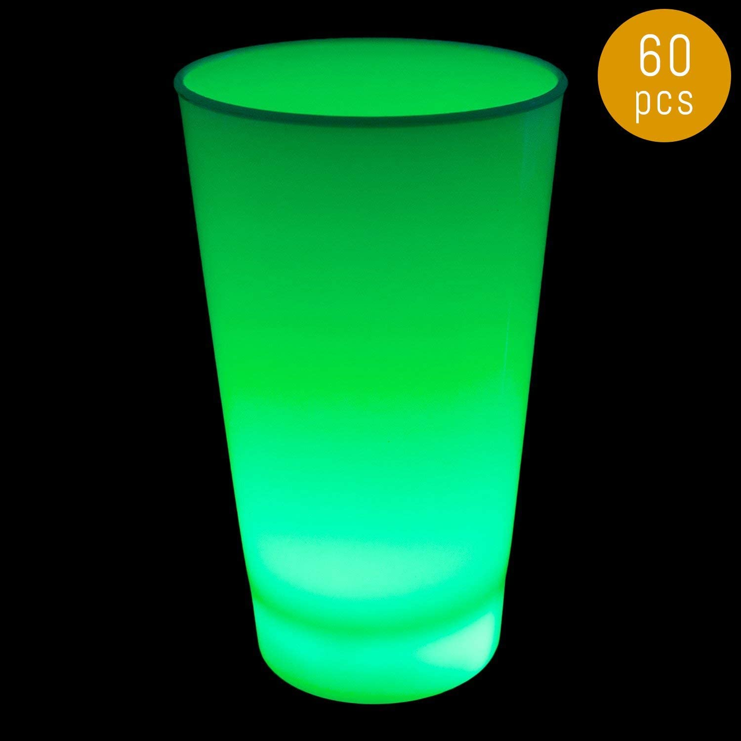 Lumistick Glow in The Dark LED Light Up Cup 16oz - Multi Color Illuminates Party Cup - Luminous Blinking Fancy Cups Supllies (Green, 60 Cups)