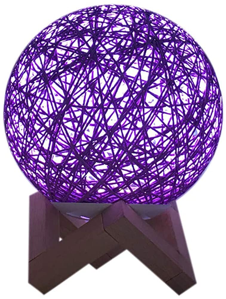 Fasclot 3D LED Rattan Moon Night Light Moonlight USB Charging Table Desk Moon Lamp LED Light Onsale