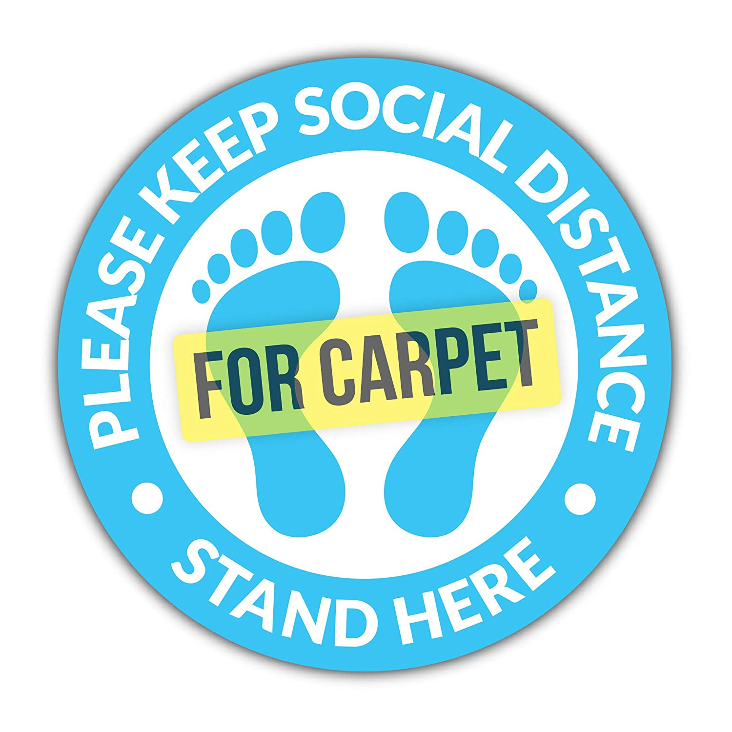 Social Distancing Floor Decals for Carpet / 6 Feet Notice Floor Sign for Public Places/Slip Resistant Safety Notice Floor Decal/Commercial Grade Stand Here Sign for Stores, Businesses, Restaurants