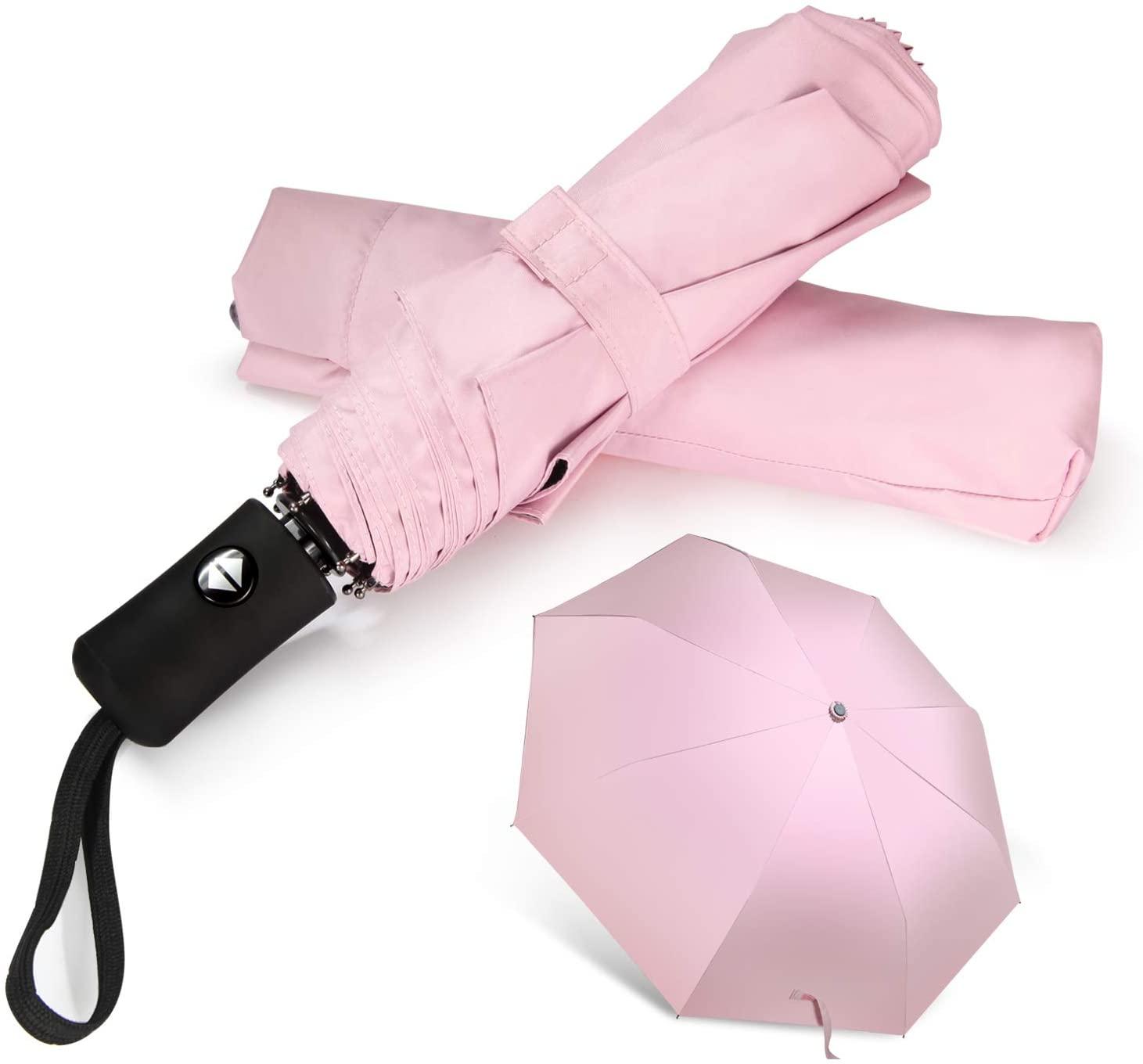 Travel Umbrella Compact Folding Sun Umbrellas Lighweight Auto Open Close for Women Parasol Pink
