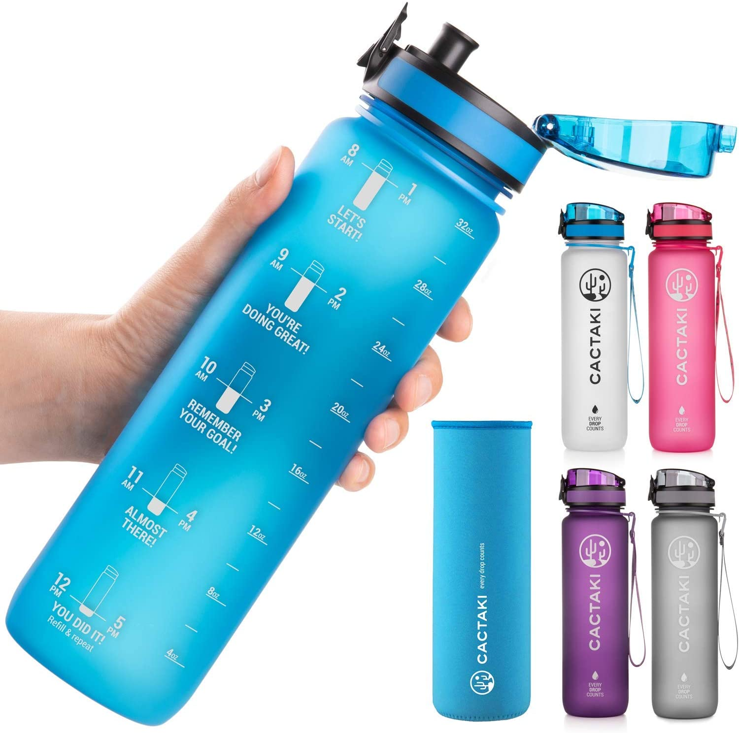 Green Sequoia Cactaki Water Bottles with Times to Drink 32oz, BPA Free, Time Markers, Non-Toxic, Leakproof, Durable, for Fitness and Outdoor Enthusiasts