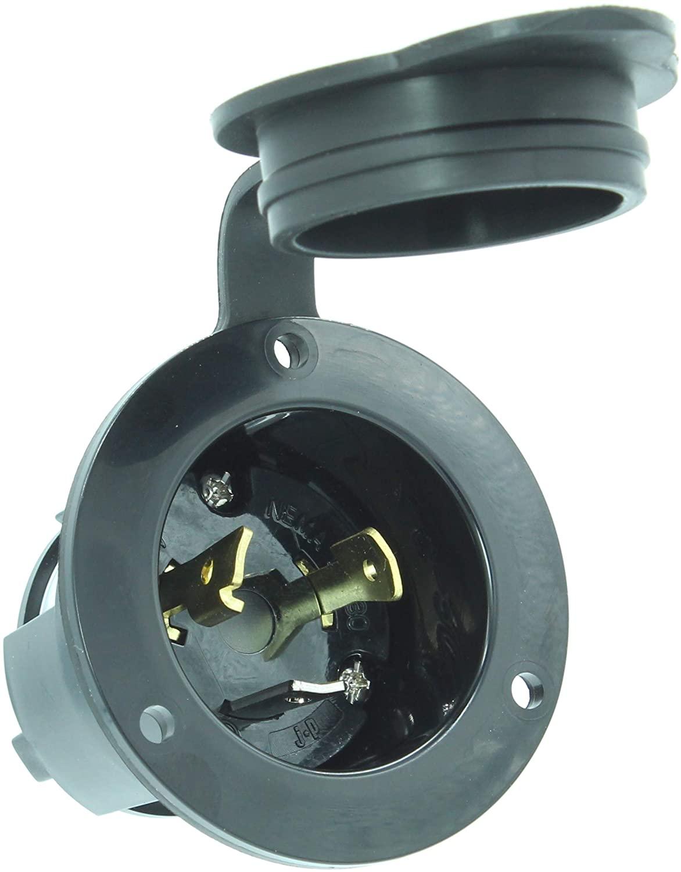 Journeyman-Pro 2615, NEMA L5-30 Flanged Inlet Generator Plug, 30A 125 Volt, Locking Receptacle Socket, Black Industrial Grade, Grounding 3750 Watts (With Waterproof Cover)