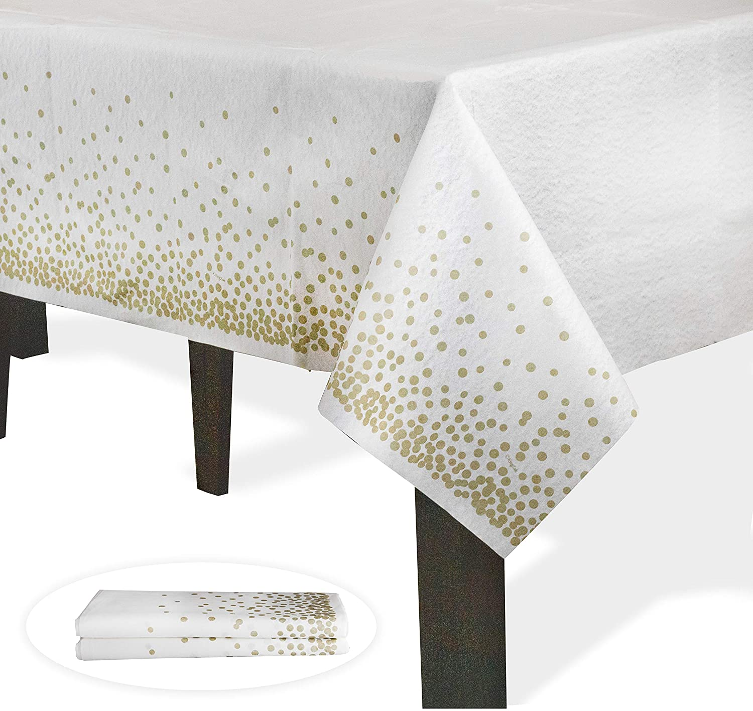 """Upper Midland Products White and Gold Paper Tablecloths for Parties, Weddings, Christmas, Thanksgiving, Graduation, Gender Reveal, Baby Shower- Cloth-Like Confetti Dots Table Cloth 54""""x102"""", 2 Pack"""