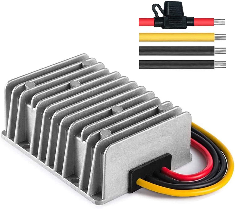 Gofotu DC DC Converter 36V/48V Down to 12V 30A 360W Voltage Regulator Reducer with Fuse Waterproof