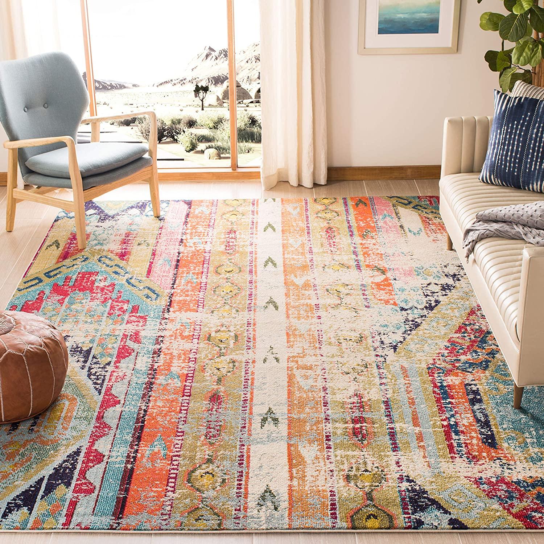 Safavieh Monaco Collection MNC222F Modern Bohemian Distressed Area Rug, 8' x 11', Multi