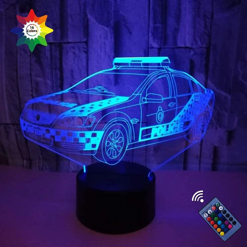 3D Police Car Night Light 16 Colors Changing USB Power Remote Control Touch Switch Decor Lamp Optical Illusion Lamp LED Table Desk Lamp Children Kids Christmas Brithday Gift