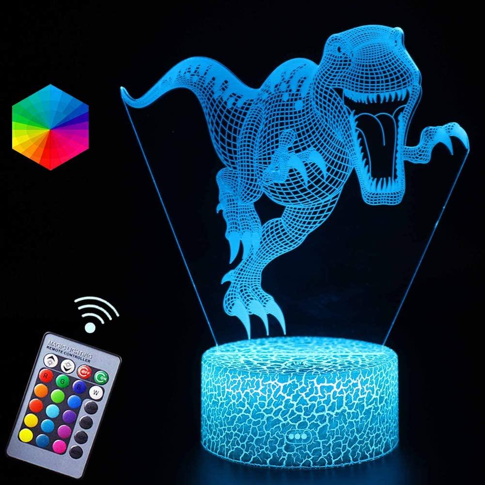 Dinosaur Tyannosaurus Night Lights Gifts 3D Optical Illusion LED Lamp Remote Control&RGB Colors USB Powered Kidsroom Decor Toys Christmas Birthday Gift Ideas for Boys Kids(Tyrannosaurus)
