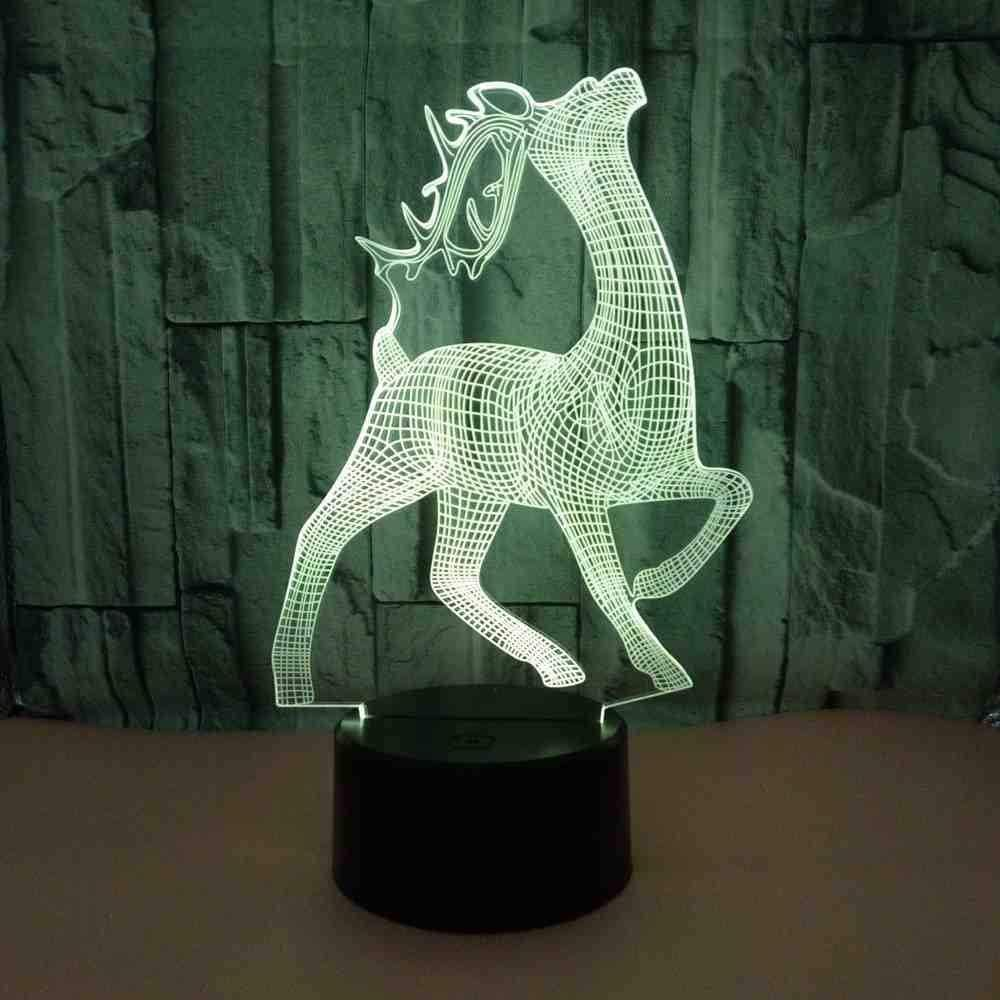 KLJLFJK Acrylic 3D Light Deer Colorful Visual 3D Nightlight Kids Room USB Led Light Lamp Led Night Light