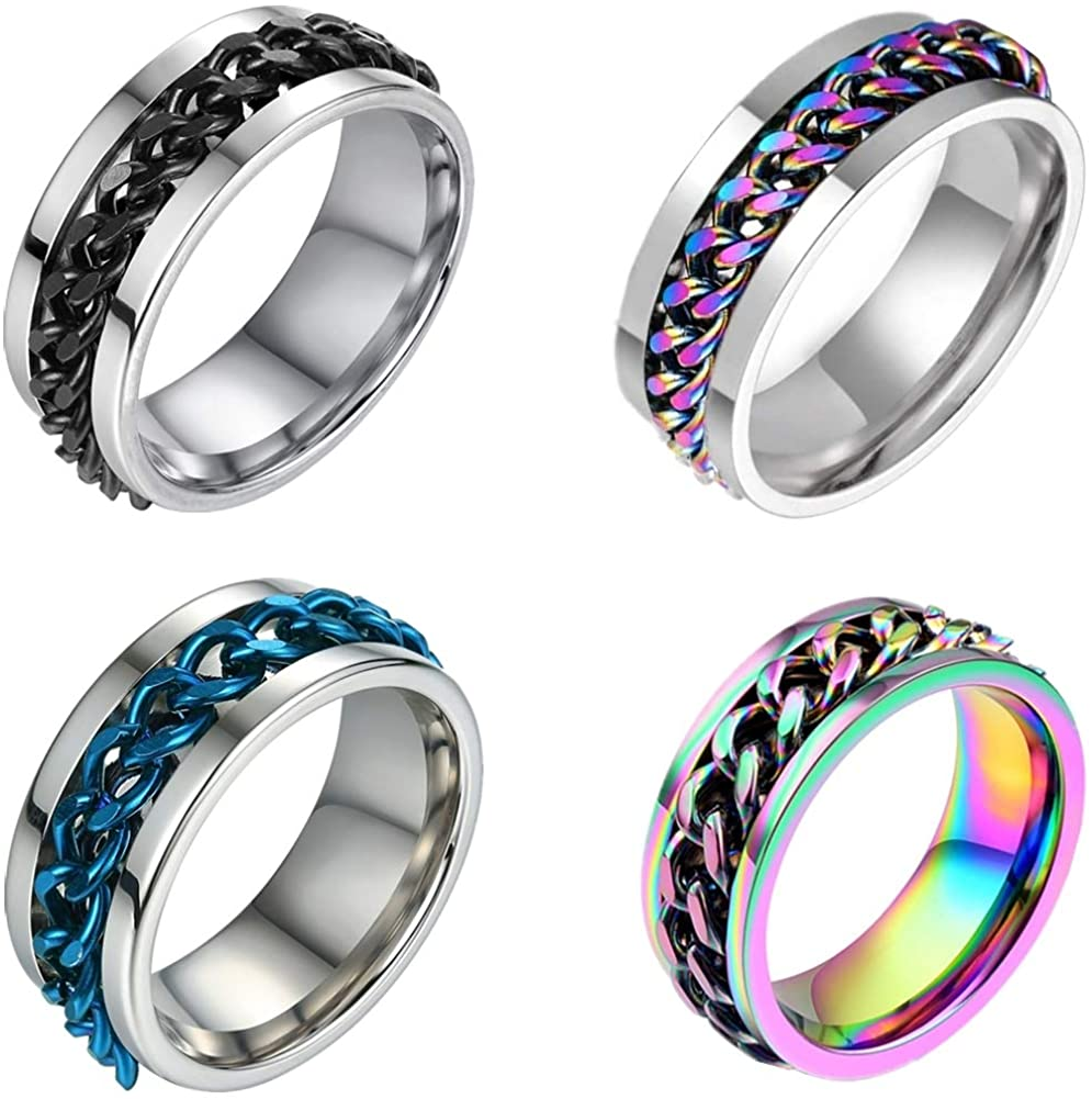 AnComfort 3 Colors Let You Choose, Lucky Rotating Ring, Men And Women Fashion Creative Ring, Titanium Steel Chain Ring, Ring Bottle Opener, Holiday Party Punk Rock Band Locomotive Couple Ring Gift Size 7-12