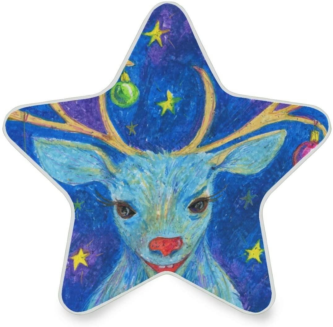 LED Night Light Star Shape Blue Deer Plug in Dawn Sensor Night Lamp Kids Adults and Nursery Decor Night Light