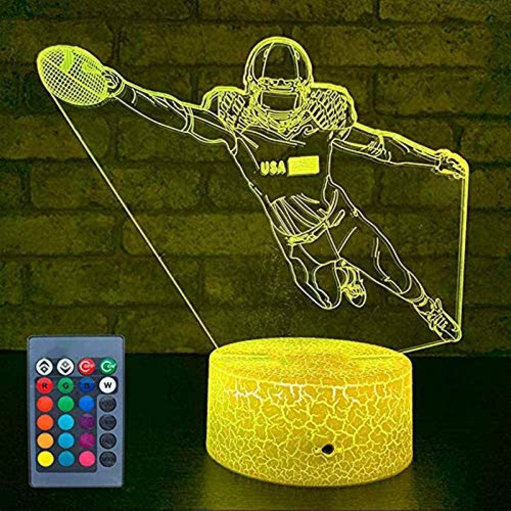 xcdfr 3D Night Lights LED Table Lamp Illusion Lights Your Baseball Lights Bedside Lights 7 Color Change Remote Control Optical Slides as a Gift Idea for Boys or Children