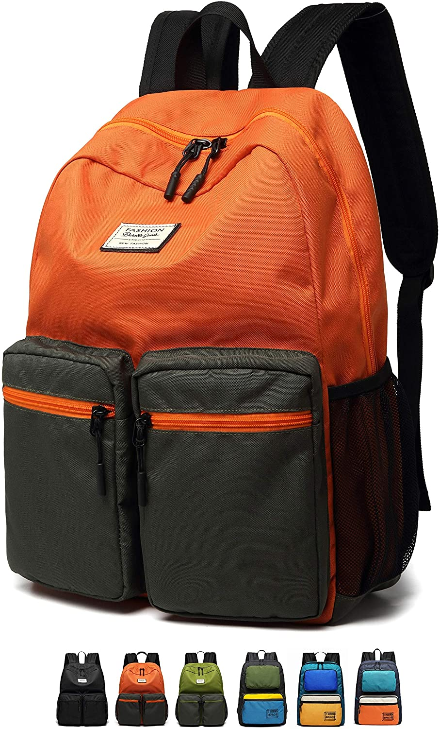 Lightweight Vibrant Backpack for School, Classic Basic Water Resistant Casual Daypack for Travel
