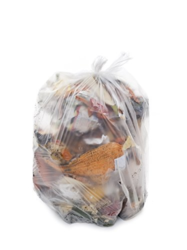 Resilia 33 Gallon Heavy-Duty Trash Bags - Clear Recycling 100 Bags/Roll, 1.2 Mil Thick, 33x40 inches (WxH), Wire Ties Included, MADE IN USA